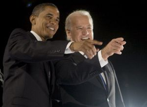 Obama and Biden at Grant Park, Chicago on 4 November 2008